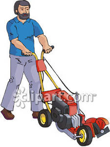 A Man Using a Push Lawn Mower Royalty Free Clipart Picture.