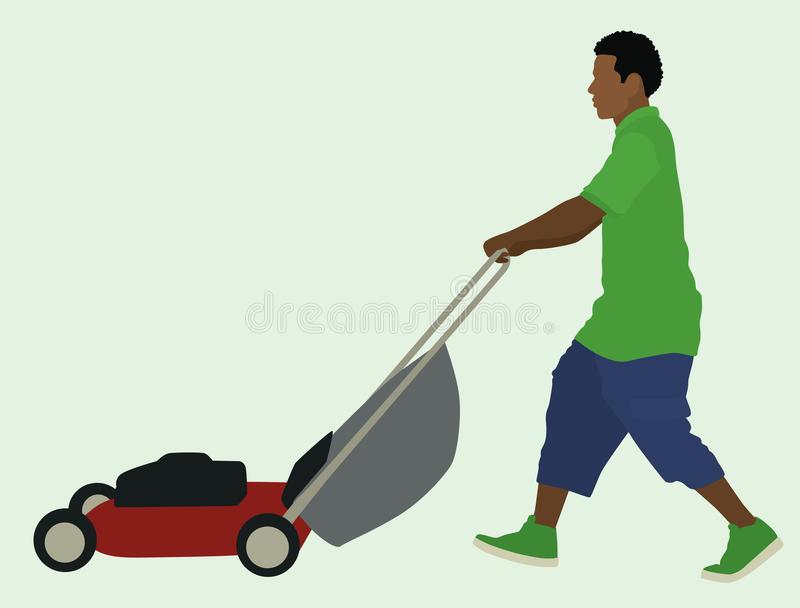 Lawnmower Man Pushing Stock Illustrations.