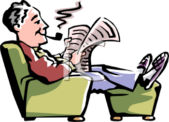 Royalty Free Clipart Image: Elderly Man Reading the Newspaper and.
