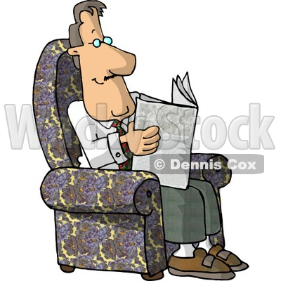 Man Reading Newspaper Clipart by Dennis Cox.