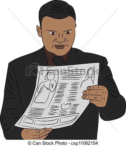 Man reading newspaper Clip Art Vector and Illustration. 907 Man.
