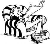 Man Reading Newspaper clip art vector, free vectors.