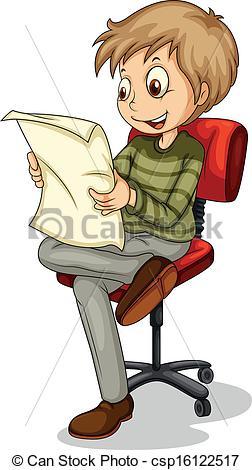 Vector Clip Art of A young man reading a newspaper.
