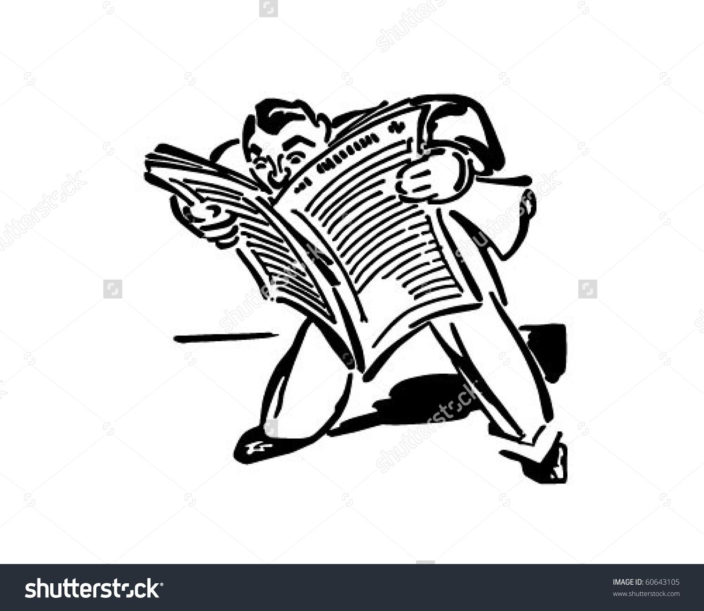 Man Reading Newspaper Retro Clip Art Stock Vector 60643105.