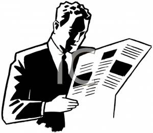 Man Reading Newspaper Clipart.