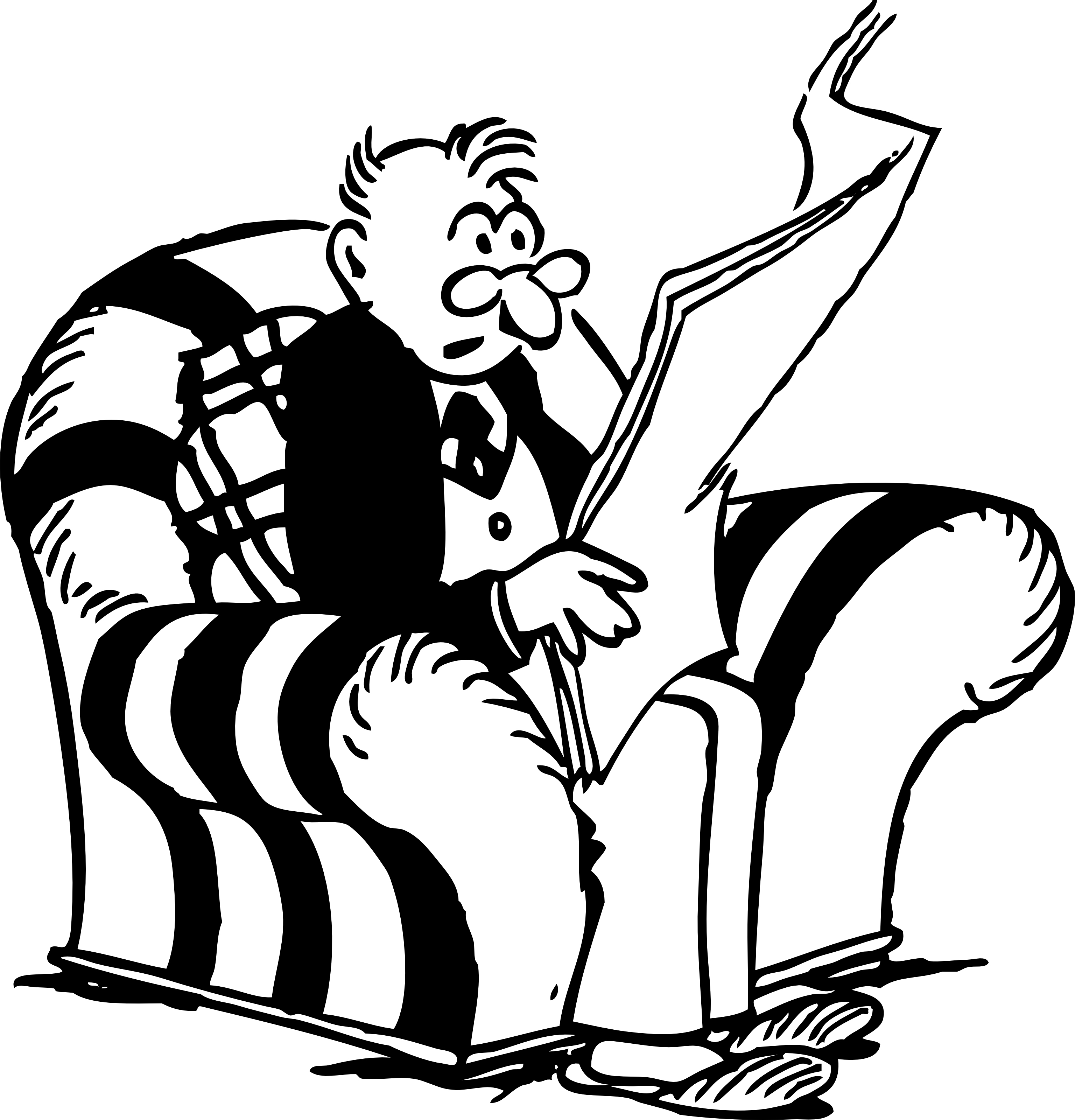 Retro Clipart Of A Man Reading Interesting News From A Newspaper.