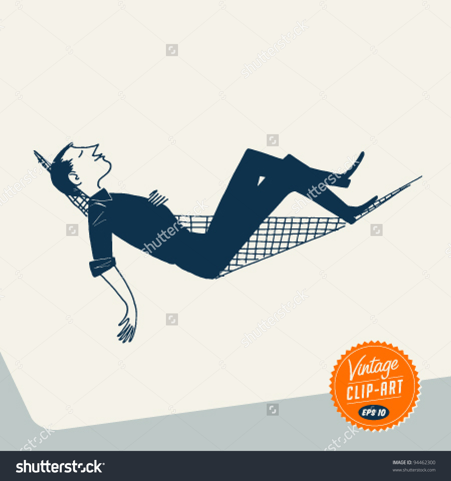 Vintage Clip Art Man Relaxing Hammock Stock Vector 94462300.