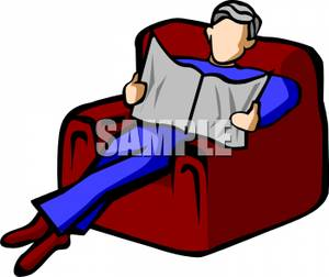 Free relaxed sitting man clipart.