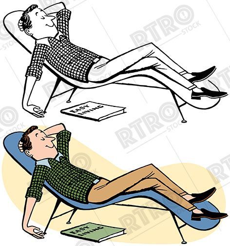 A man relaxing in a chaise lounge vintage retro clipart clip.