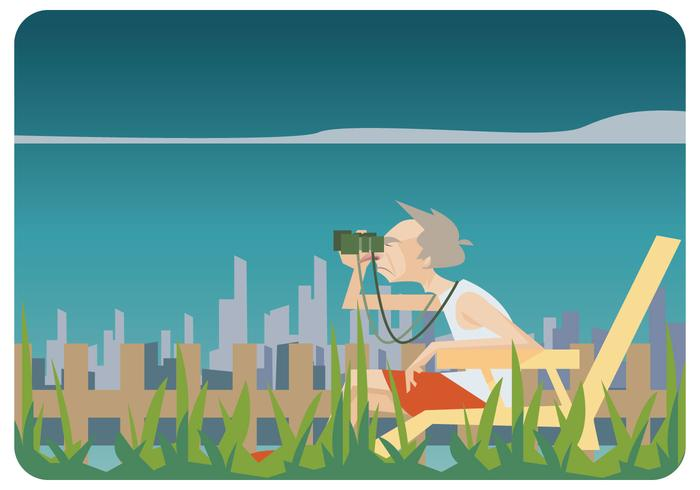 Old Man Relaxing in Lawn Chair Vector.