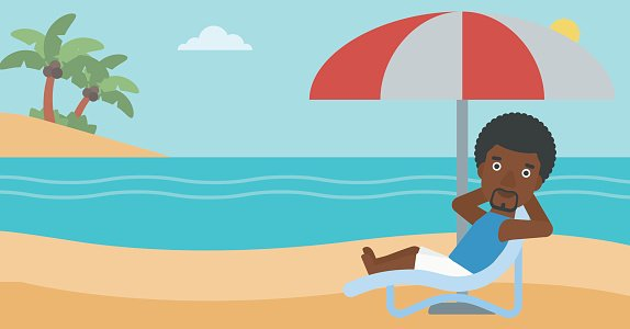 Man relaxing on beach chair vector illustration. Clipart.