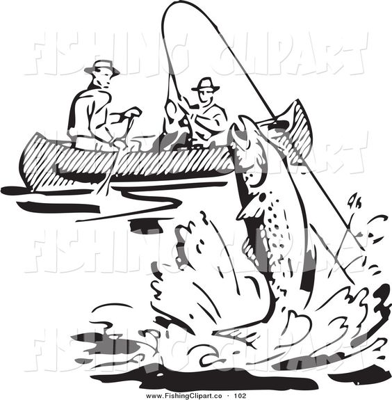 Clip Art of a Retro Black and White Men Fishing in a Boat, a Fish.