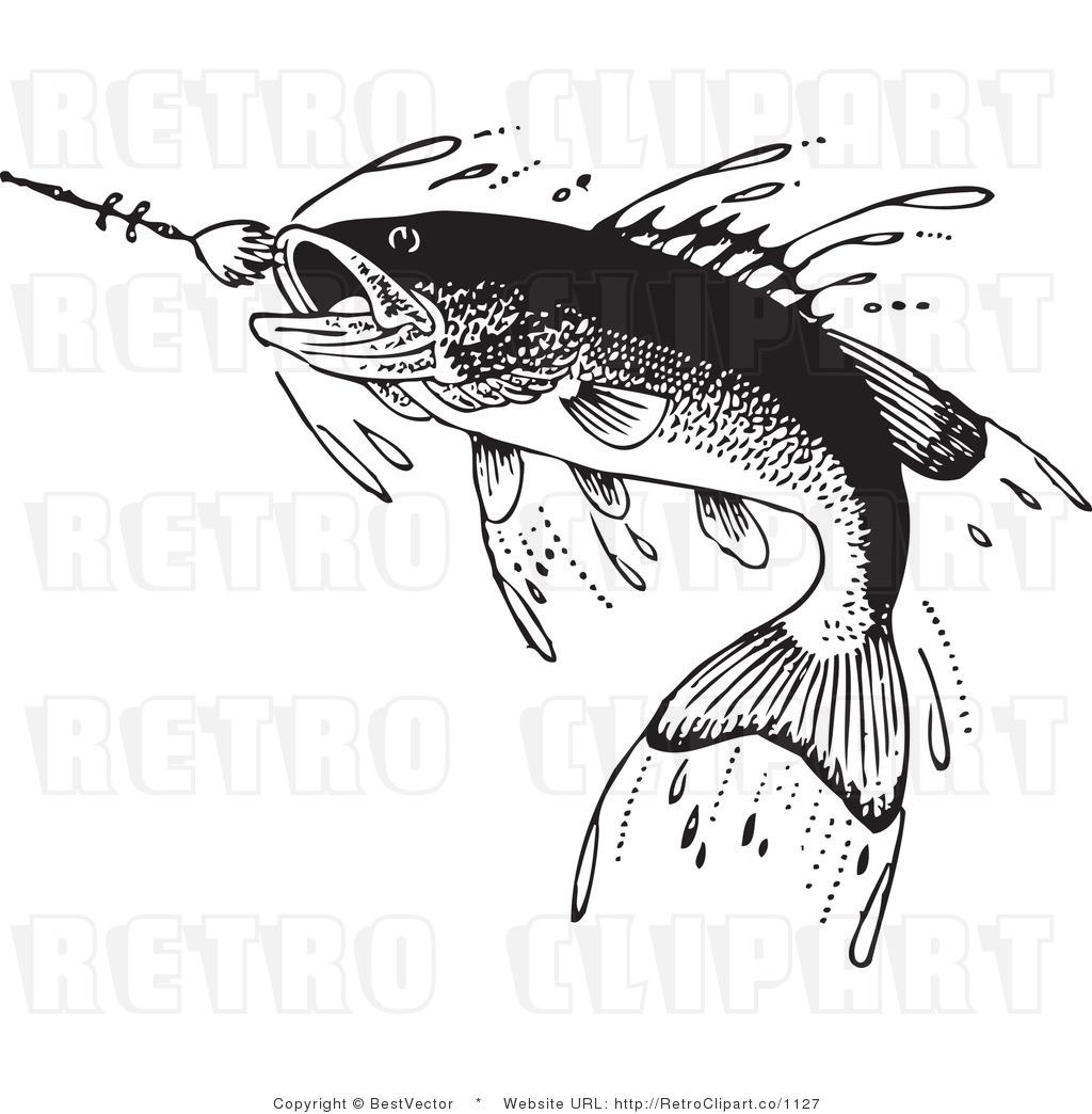 fish clip art black and white.