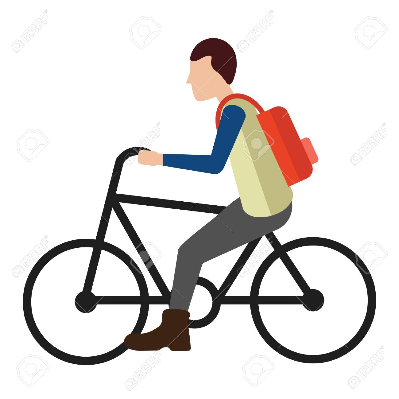 Man riding bicycle.