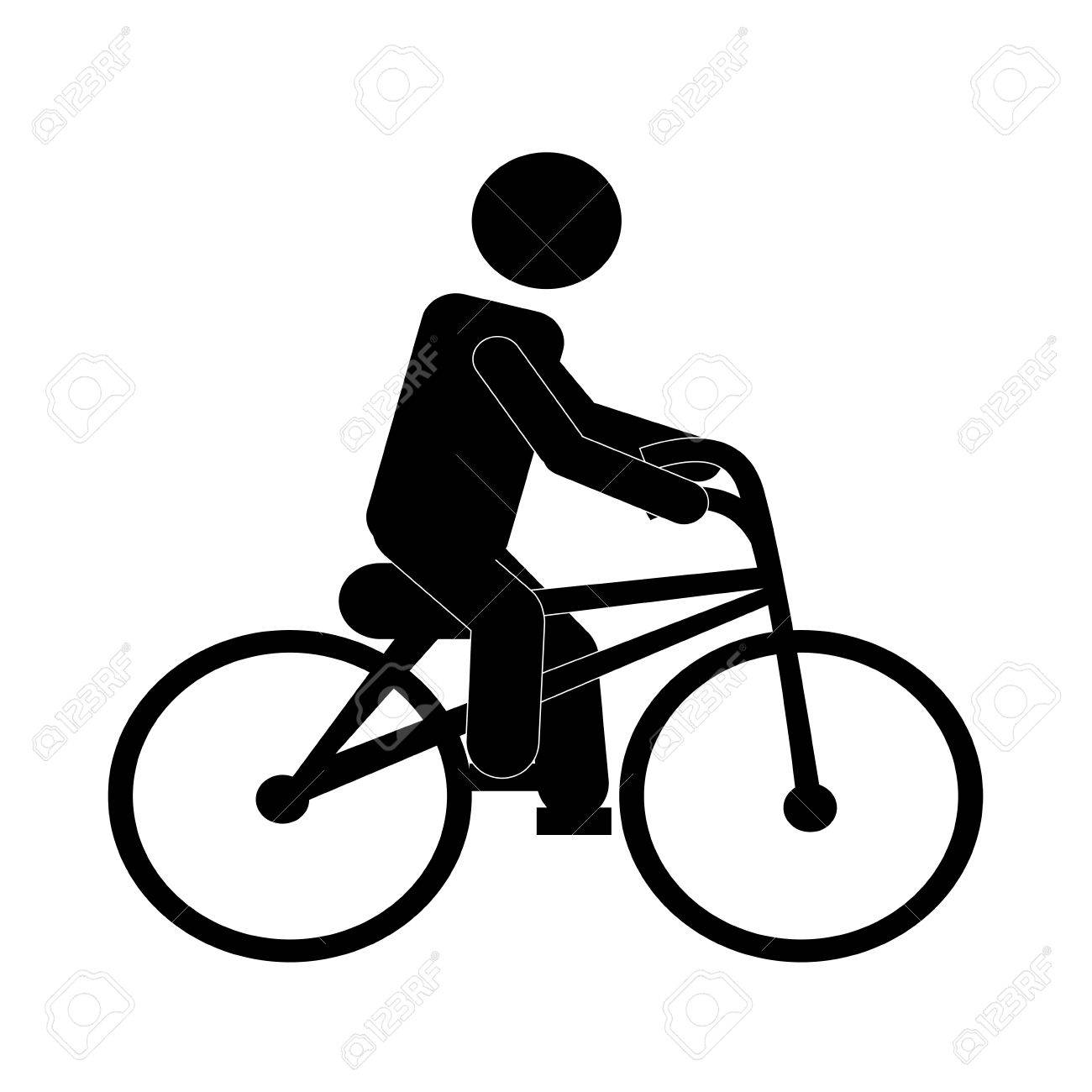 man riding bike silhouette over white background.