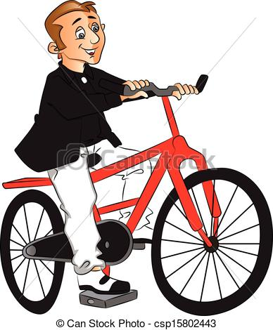 Vector of man riding bicycle..