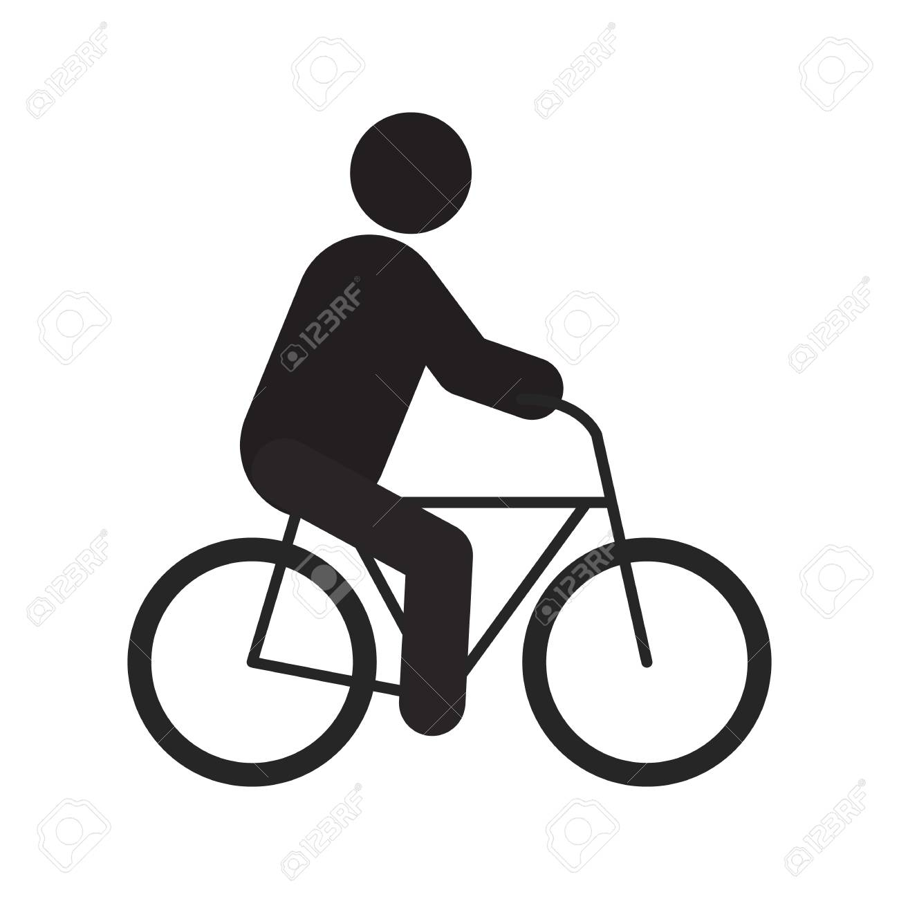 Man riding bike silhouette icon. Sport. Isolated vector illustration.
