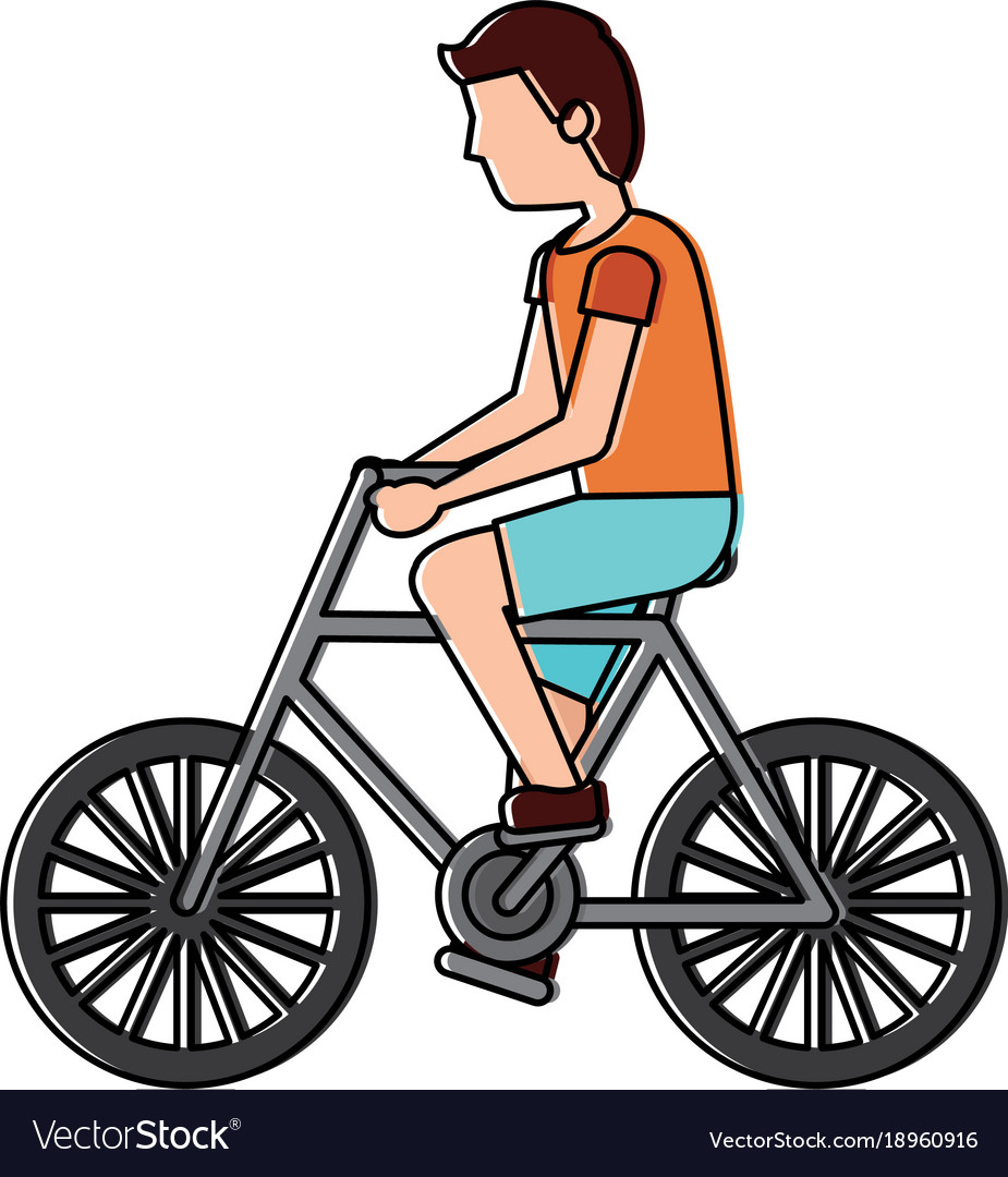 Character young man riding bicycle side view.