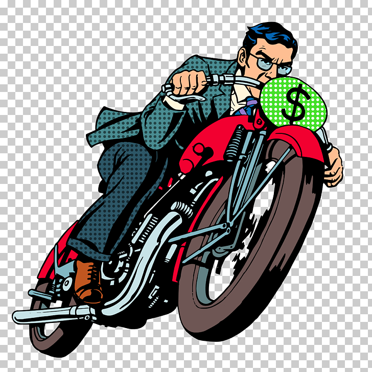 Motorcycle Business Pop art Illustration, Riding a.