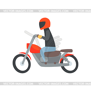 Man in helmet riding motorcycle cartoon.