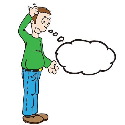 man with thought bubble scratching his head Clipart Image.