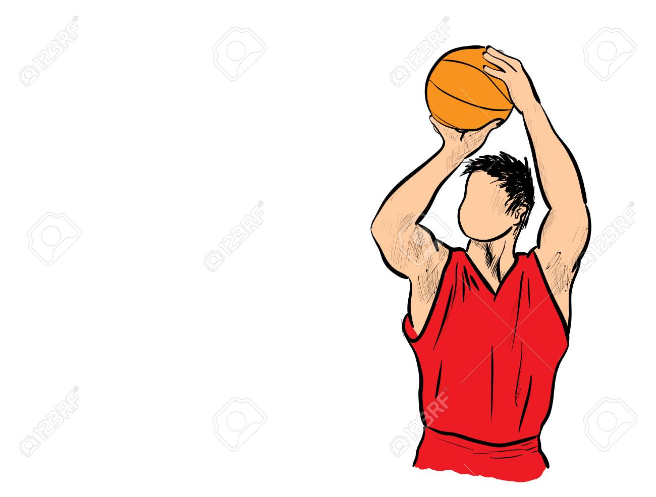 Man shooting basketball.
