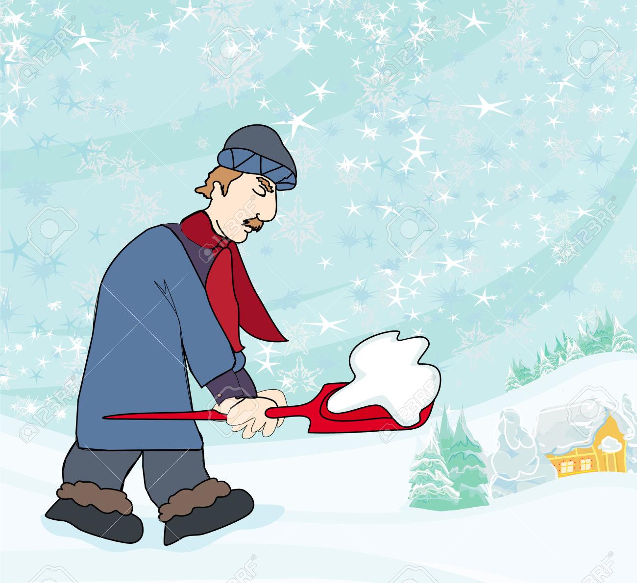 Man shoveling snow clipart.
