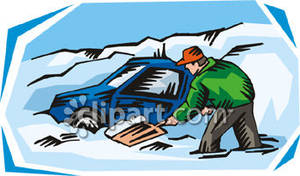 Shoveling Snow Away From His Car.