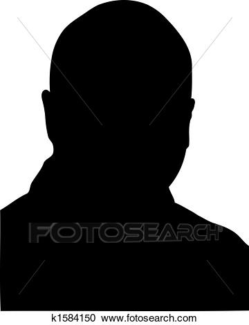 Bald man silhouette Clipart.