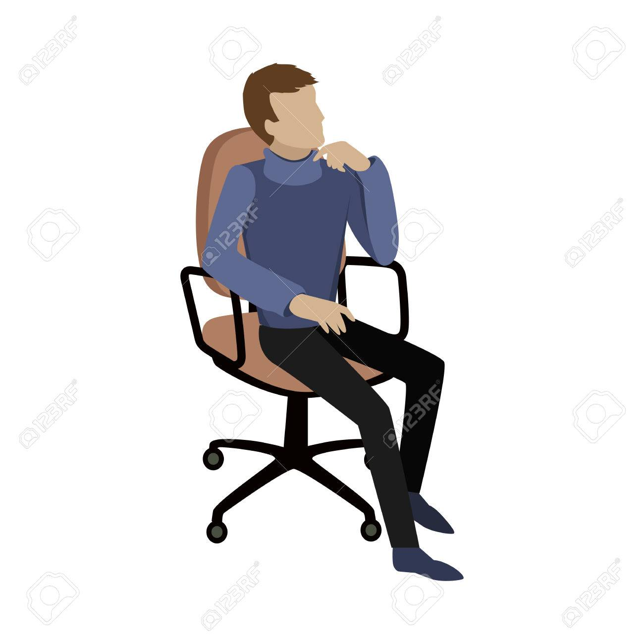 Man sitting on chair and dreaming about something or thinking...