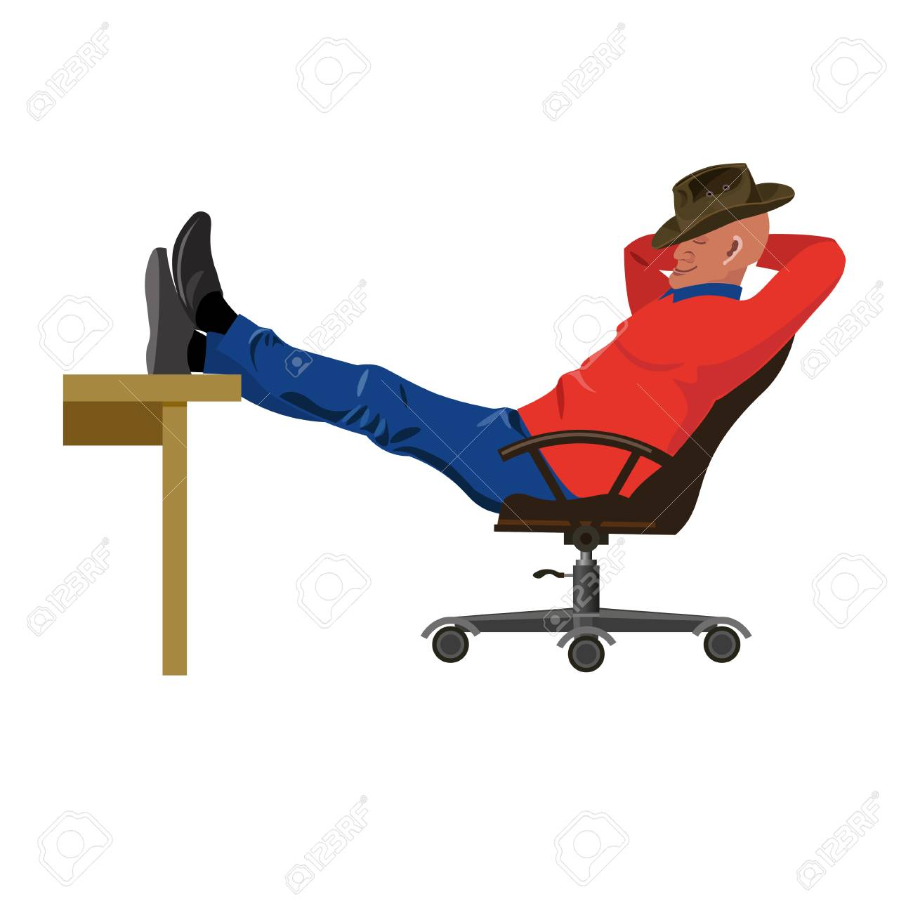 Man sitting in chair with legs on table. Vector illustration.