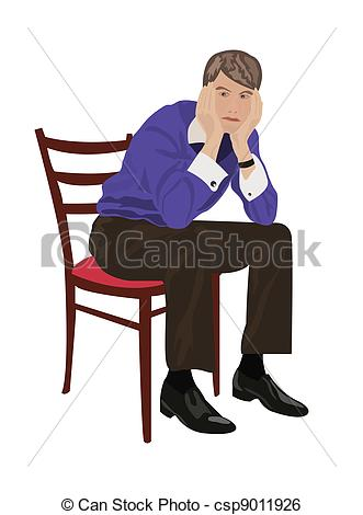 Man sitting on chair and thinking.