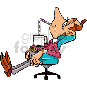 tired man sitting in office chair cartoon character clipart. Royalty.