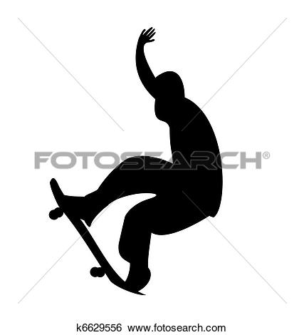 Clip Art of Illustration of black silhouette skateboard man.