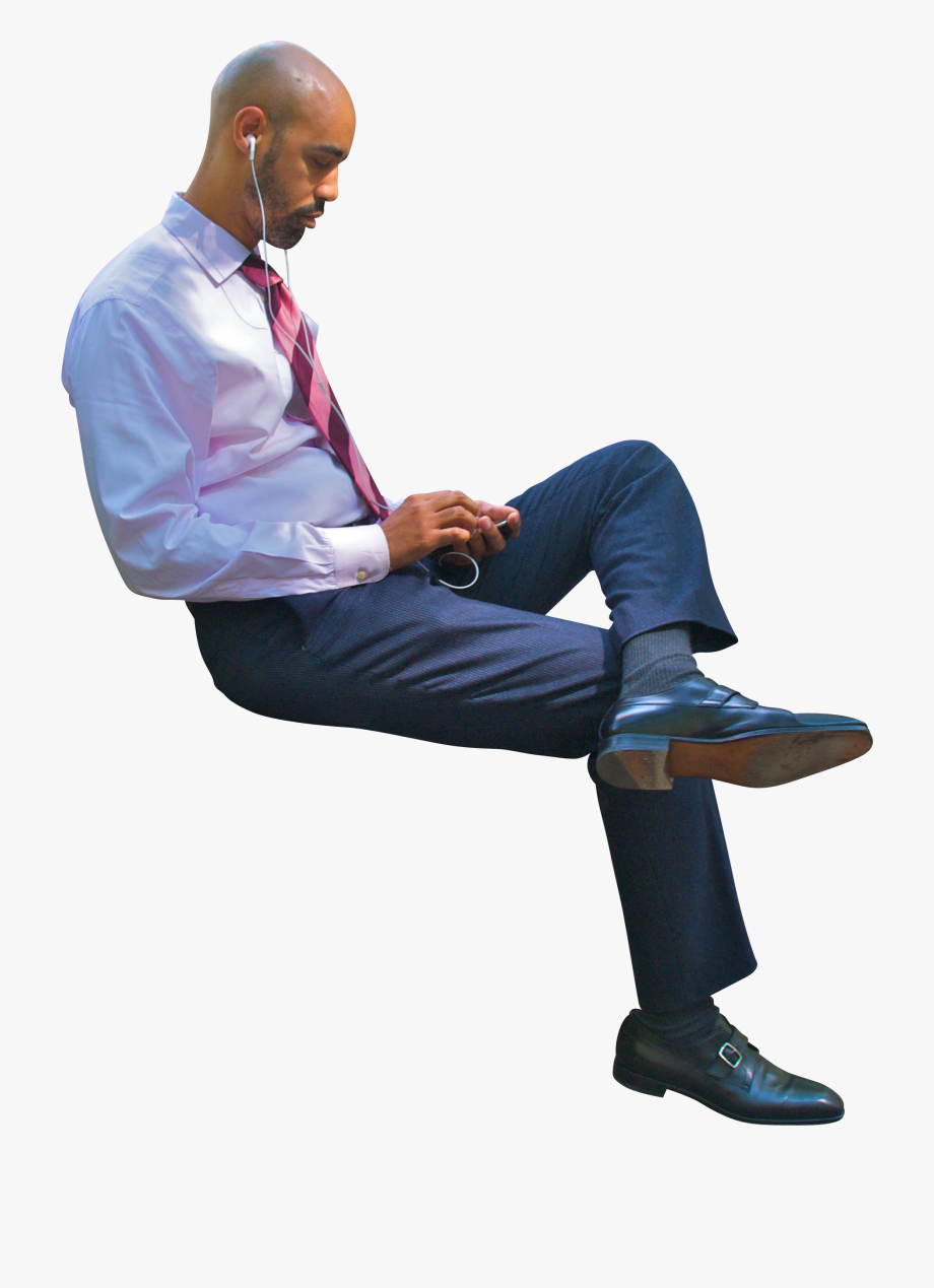 Sitting Businessman Png.