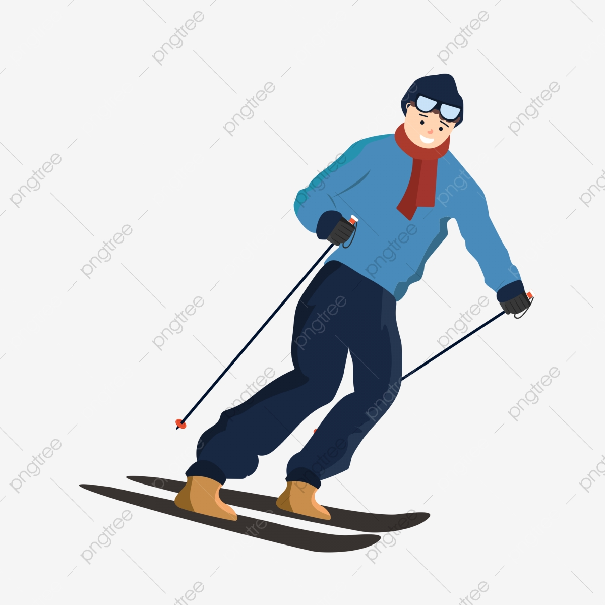 Hand Painted Snow Ski Young People, Illustration, Young Man.