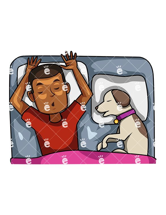 A Black Man Sleeping In Bed With His Dog Next To Him.