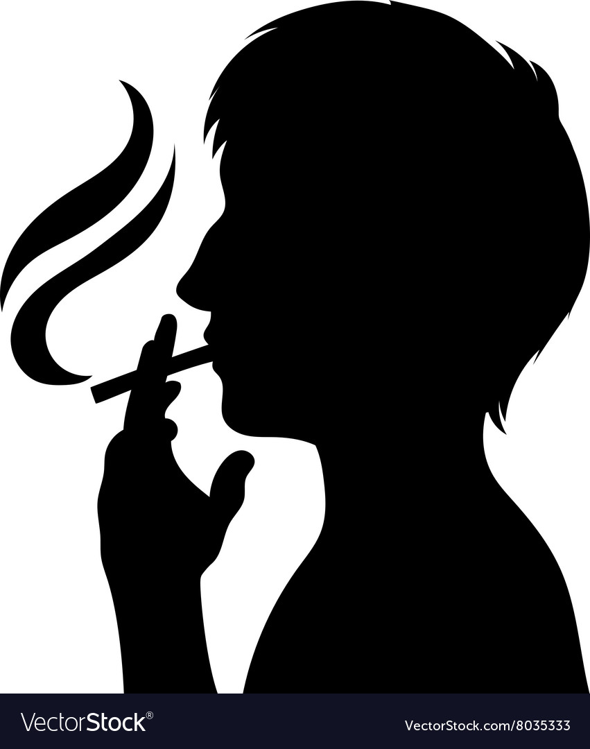 Smoker silhouette man with cigarette.