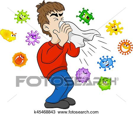 Sneezing man with germs Clipart.