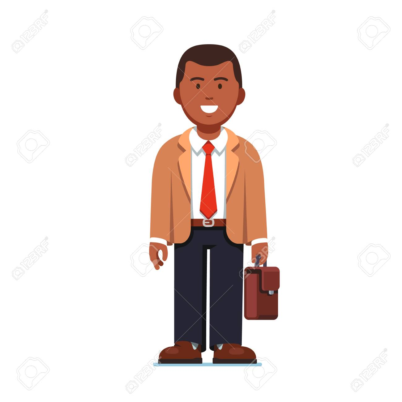 Afro American business man standing with suitcase.