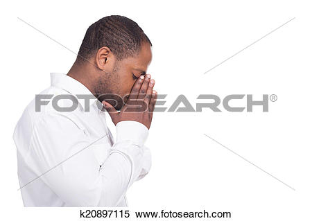 Stock Image of handsome black man standing facing right. Man.