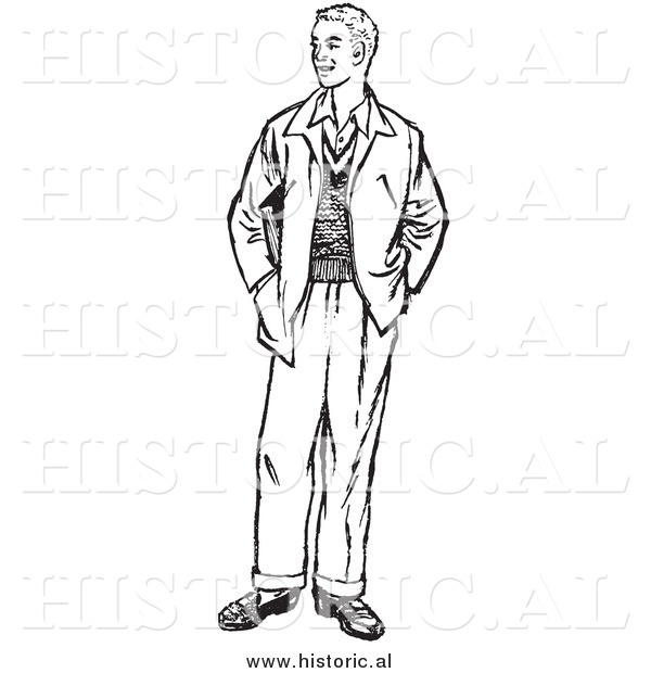 Man Standing Right Clipart Black And White.