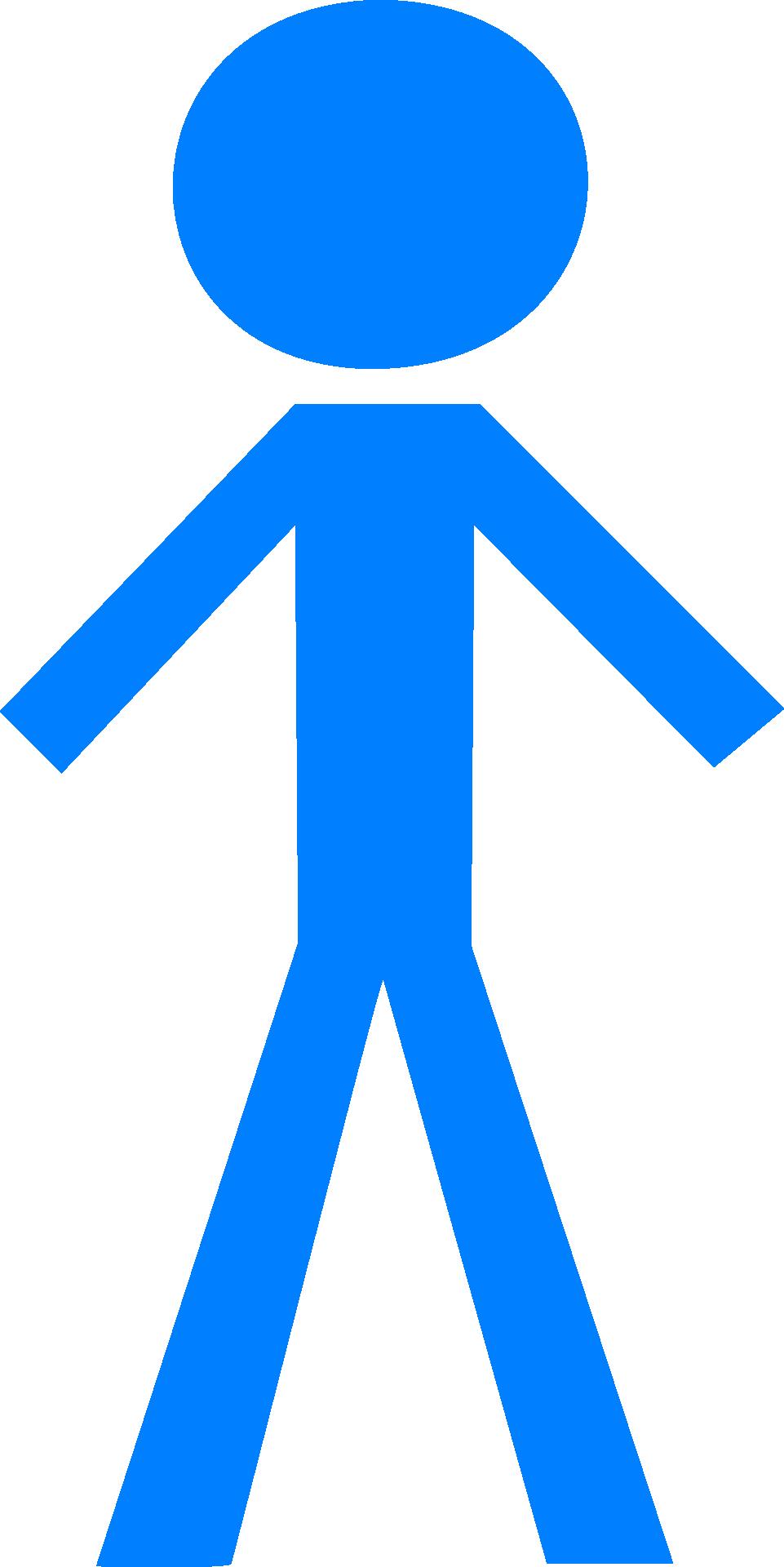 Blue stick man person figure clipart free image.