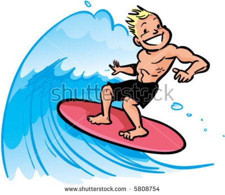 Vector Young Man Surfing Big Wave Stock Vector 5808754.