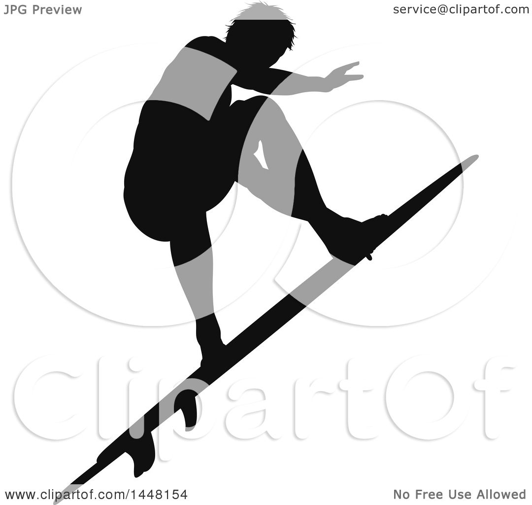 Clipart of a Black Silhouetted Man Surfing.