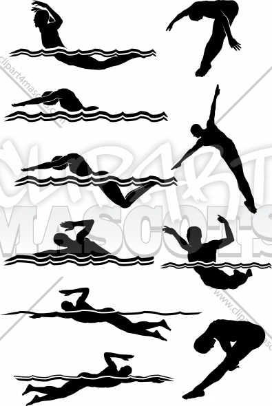 Man Swimming Silhouettes Graphic Vector Logo.
