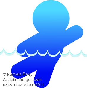 Clip Art Image of an Icon of a Man Swimming.