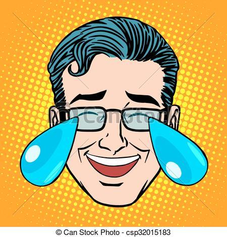 Vector of Retro Emoji tears joy man face pop art style. Joke.