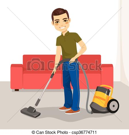 Vector Clip Art of Man Vacuum Cleaner.