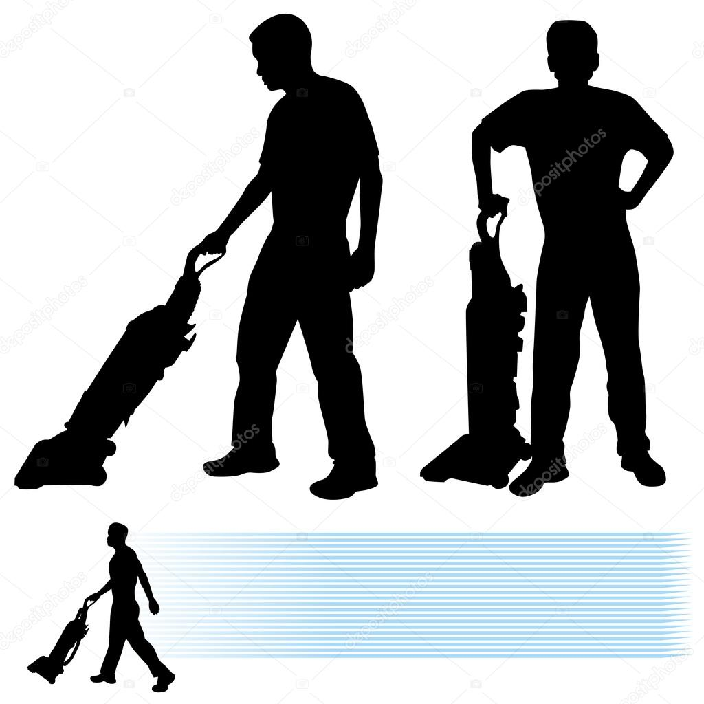 Man Using Vacuum Cleaner — Stock Vector © cteconsulting #11576556.